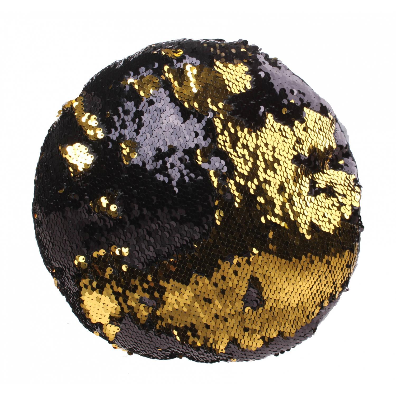 Kamparo kussen met pailletten 28 cm goud/zwart
