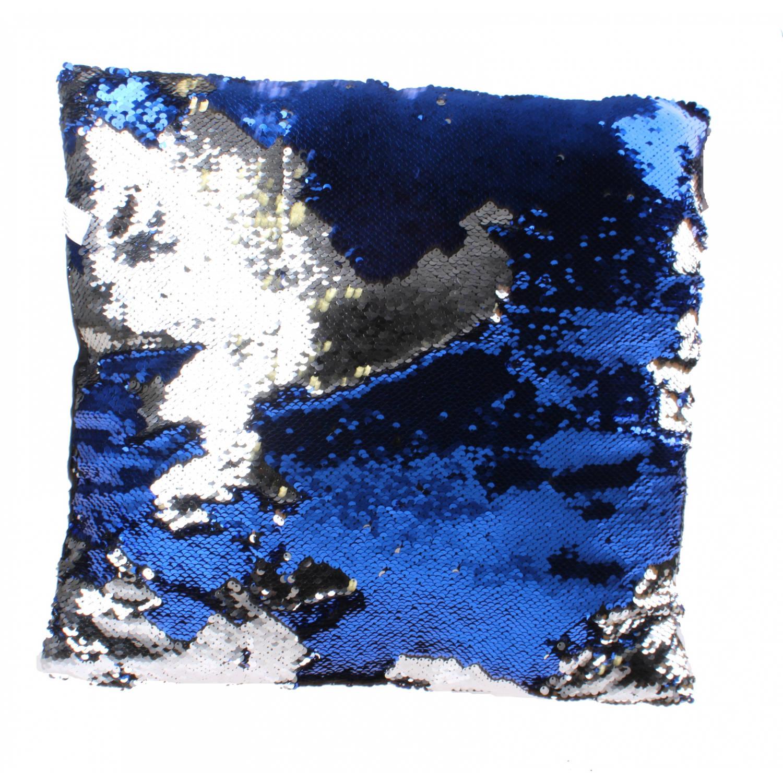Kamparo kussen met pailletten 40 cm blauw/zilver