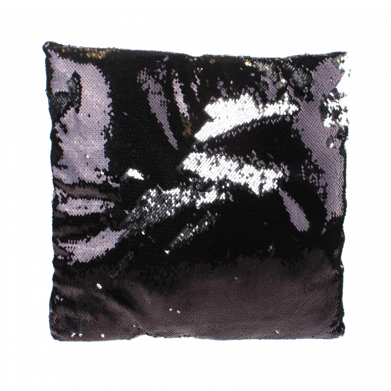Kamparo kussen met pailletten 40 cm zwart/zilver