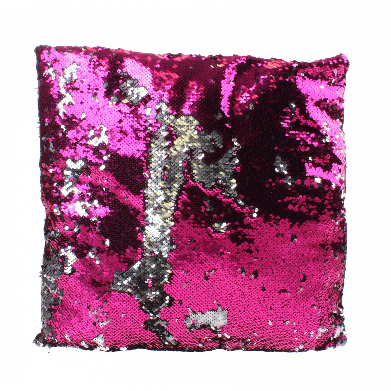 Kamparo kussen met pailletten 40 cm roze/zilver