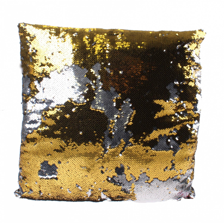 Kamparo kussen met pailletten 40 cm zilver/goud