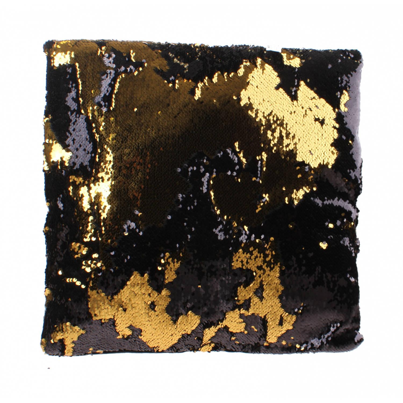 Kamparo kussen met pailletten 40 cm zwart/goud
