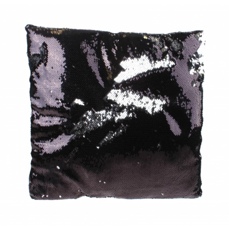 Kamparo kussen met pailletten zwart zilver 30 cm