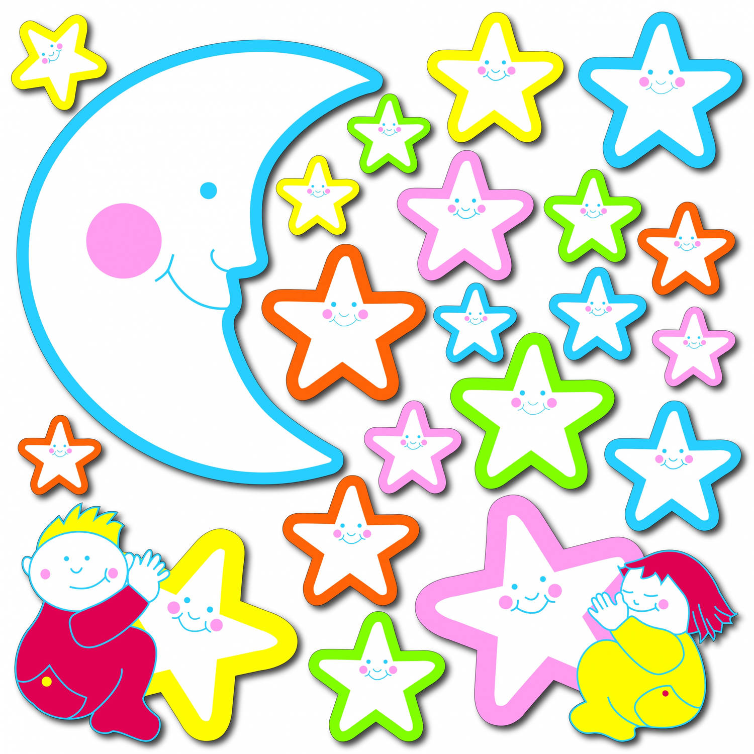 Kids Decor muurdecoratie foam Glow in the Dark Smiling Stars
