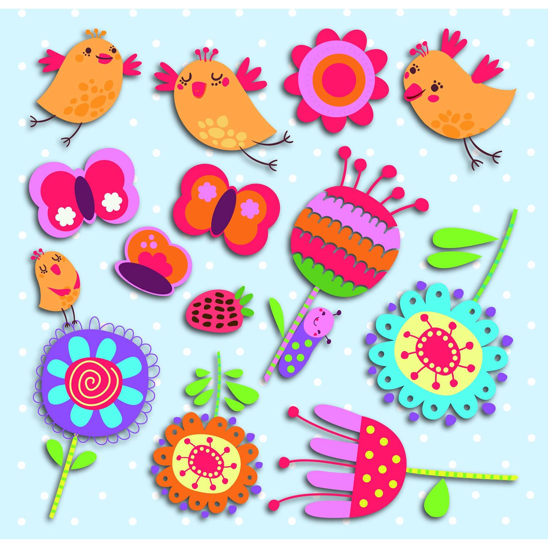 Kids Decor muurdecoratie 3-levels Birds and Flowers junior