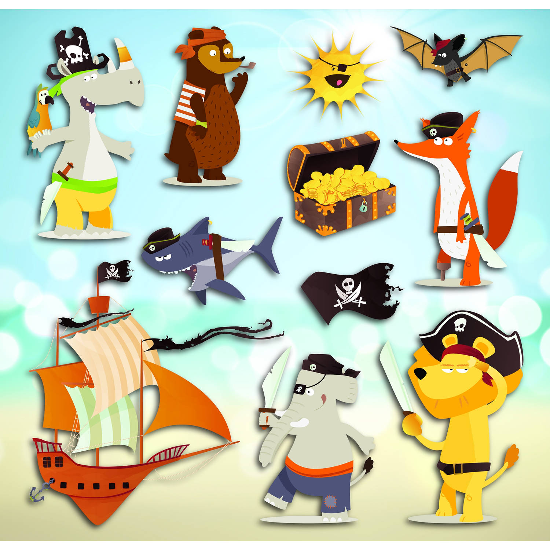 Kids Decor muurdecoratie 3-levels Piraten junior