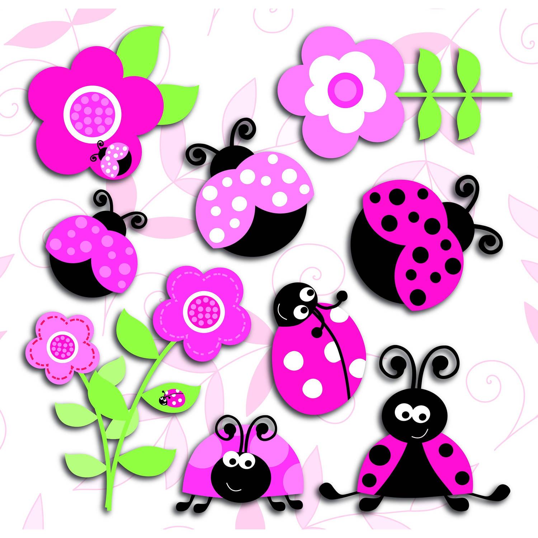 Kids Decor muurdecoratie 3-levels Pink Ladybugs junior