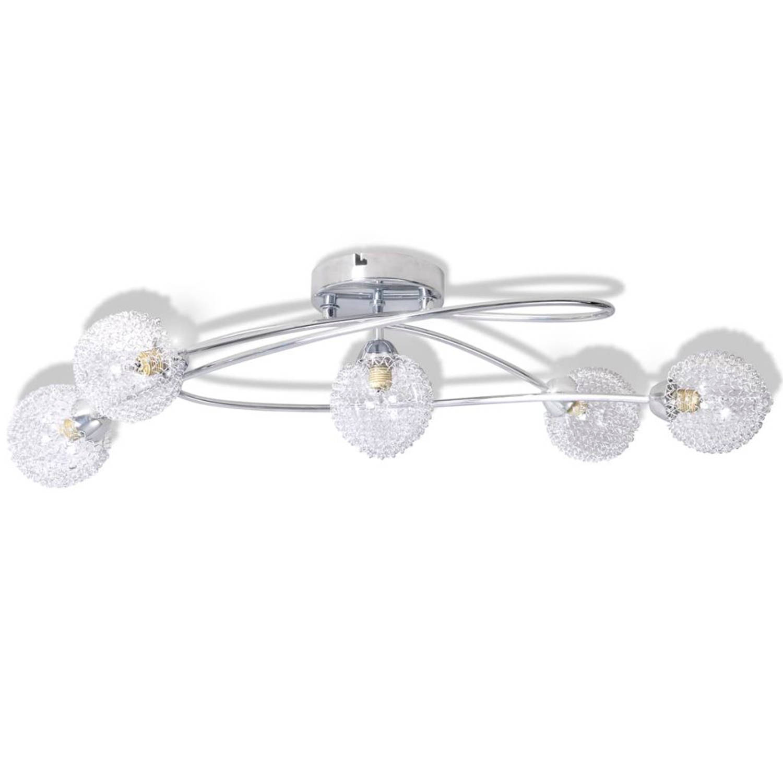vidaXL Plafondlamp met gaasdraad kappen voor 5 x G9 peertjes