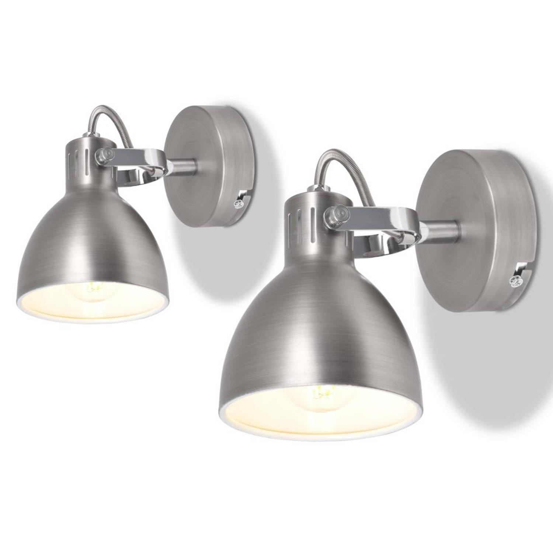 vidaXL Wandlampen voor 2 peertjes E14 grijs 2 st