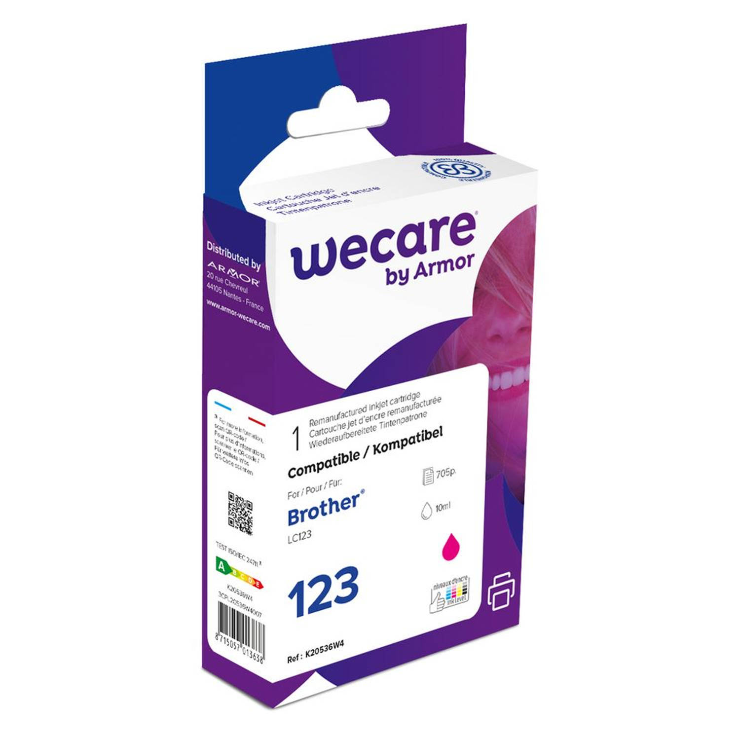 weCare Cartridge Brother LC123 Rood