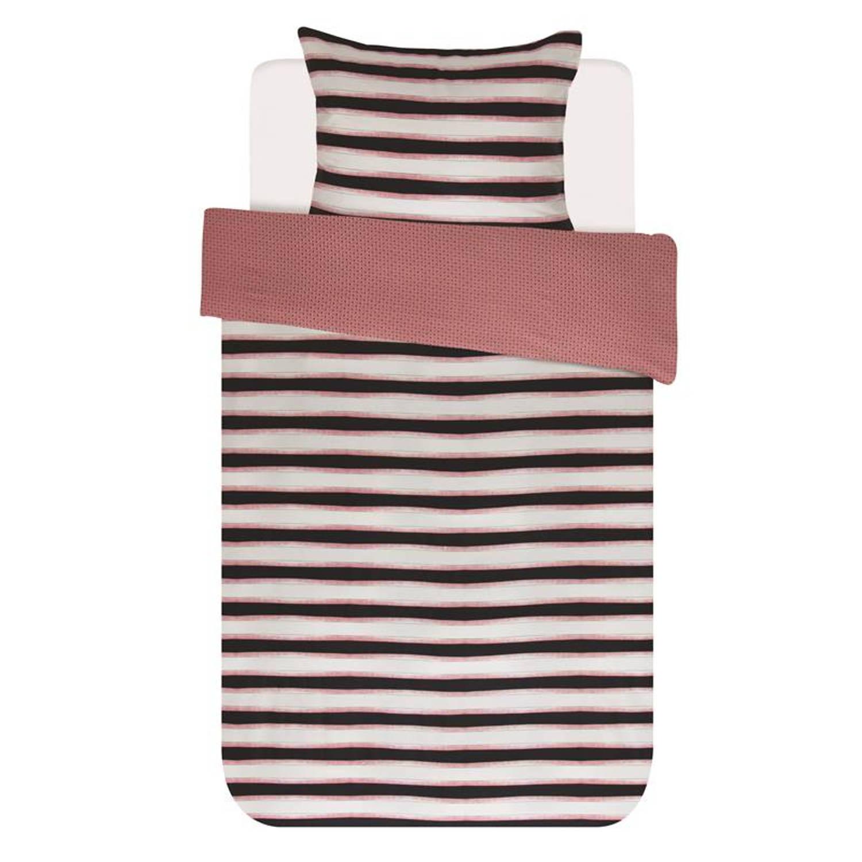 Essenza Lyra dekbedovertrek - 100% katoen-satijn - 1-persoons (140x200/220 cm + 1 sloop) - 1 stuk (60x70 cm) - Roze