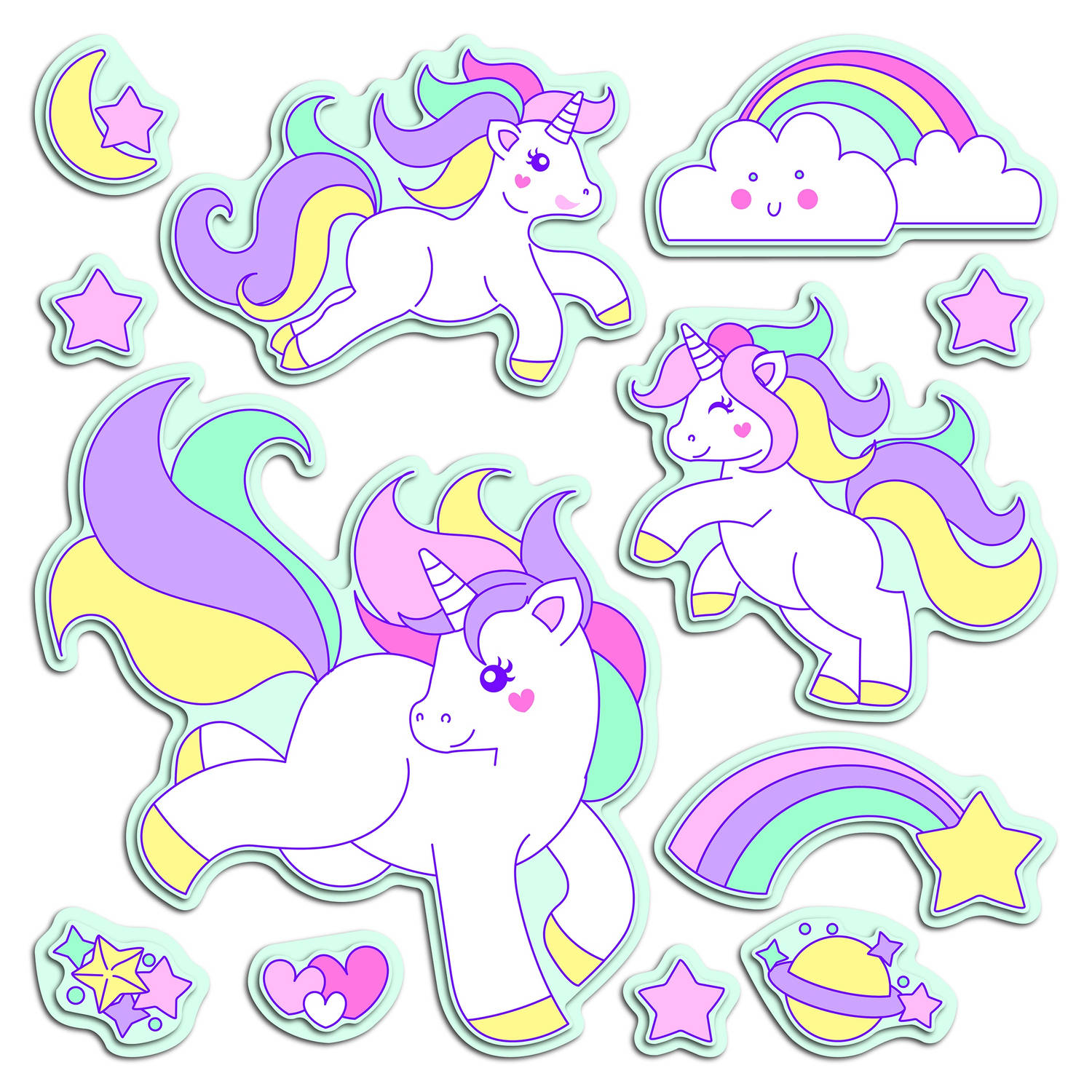 Kids Decor muurdecoratie 3D foam Lovely Unicorns 47 x 70 cm
