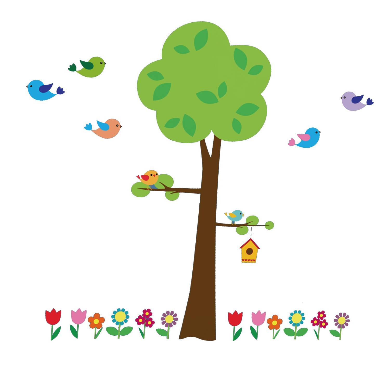 Kids Decor Muurstickers Boom Met Bloemen 134 X 47 Cm