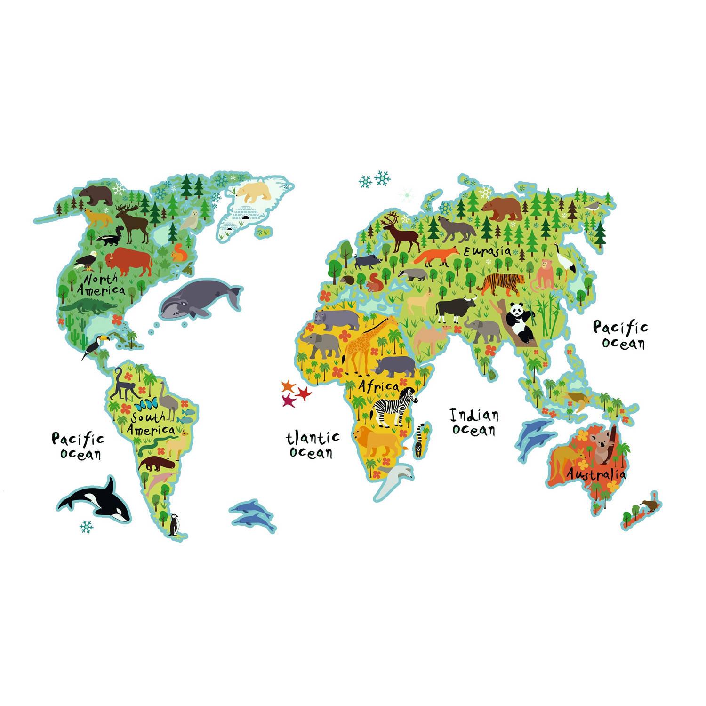 Kids Decor muursticker wereldkaart met dieren 94 x 67 cm