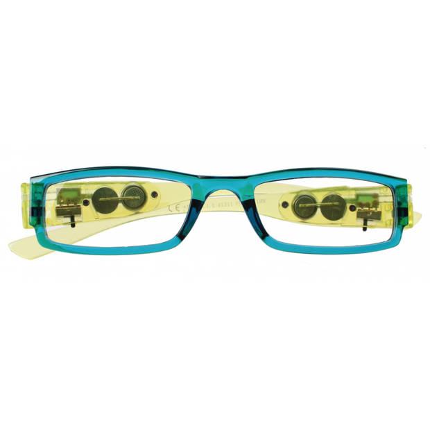 Lifetime-Vision leesbril met led-lampjes unisex blauw/groen sterkte +1.00