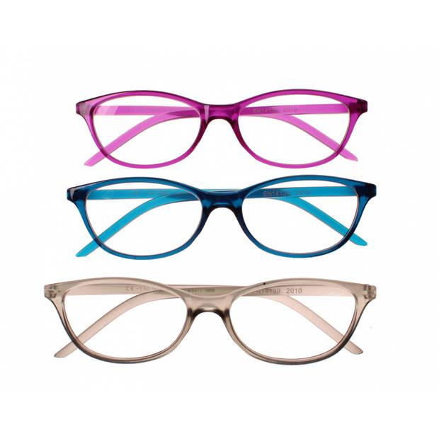 Lifetime-Vision leesbrillen unisex paars/blauw/grijs 3 stuks sterkte +1.50