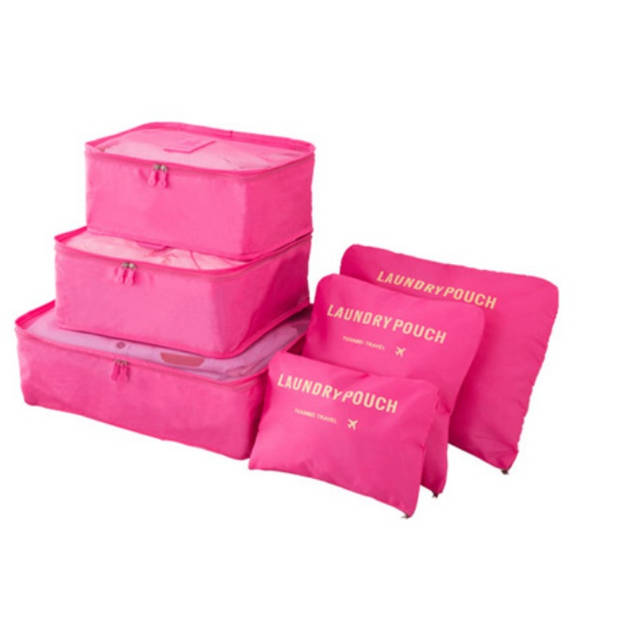 Packing cubes - 6 stuks - Koffer Organiser - Fuchsia