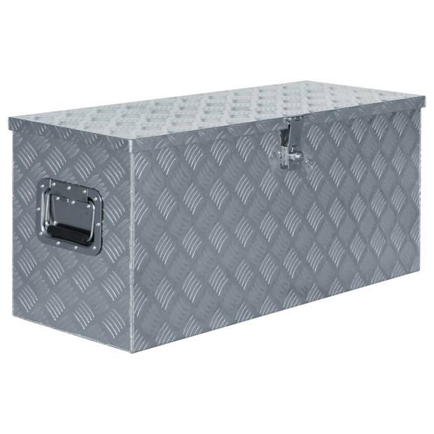 vidaXL Doos 90,5x35x40 cm aluminium zilverkleurig