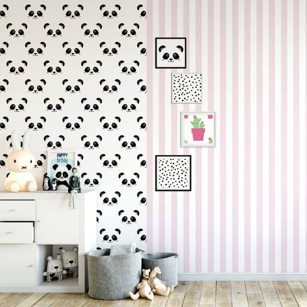 Fabulous World Behang Stripes wit en roze 67103-4