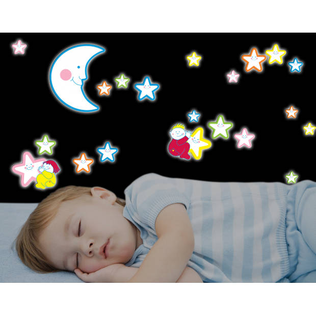 Kids Decor muurdecoratie foam Glow in the Dark Smiling Stars