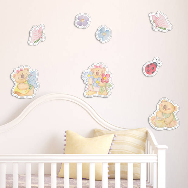Kids Decor muurdecoratie foam Bear Brothers junior 8 stuks