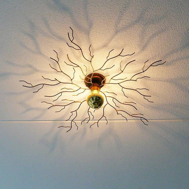 I-Lumen Plafondlamp Bichero Ø 80 cm goud-bruin