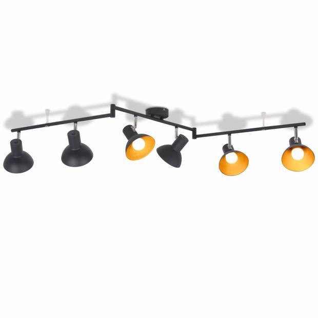 vidaXL Plafondlamp voor 6 peertjes E27 zwart en goud