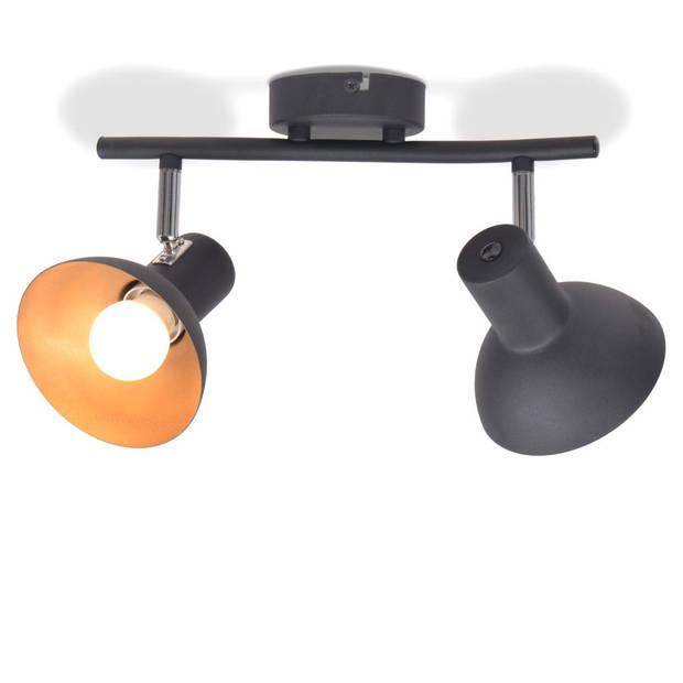 vidaXL Plafondlamp voor 2 peertjes E27 zwart en goudkleurig