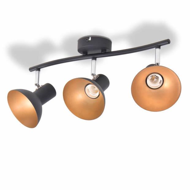 vidaXL Plafondlamp voor 3 peertjes recht E27 zwart en goud