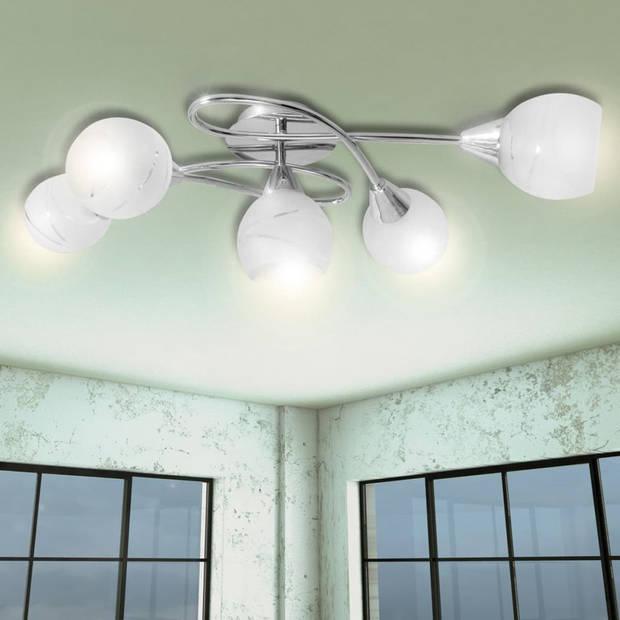 Plafondlamp met glazen behuizing voor lampen