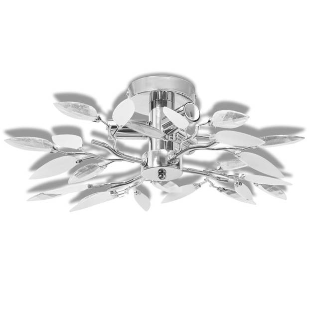 vidaXL Plafondlamp met kristal bladeren 3xE14 acryl wit en transparant