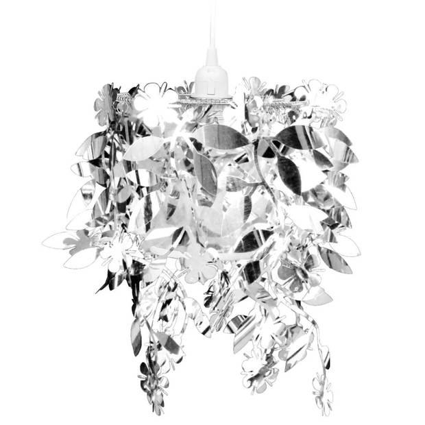 Kroonluchter met pailletten in de vorm van blaadjes 21,5x30 cm zilver
