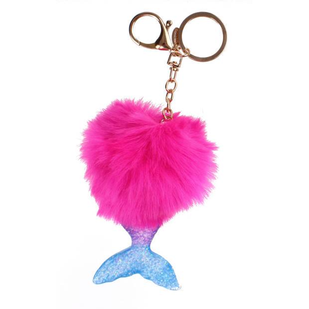 Create It! sleutelhanger fluffy met zeemeerminnenstaart 11 cm