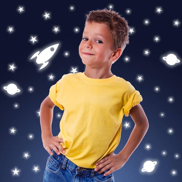 Kids Decor muurstickers heelal glow in the dark 15 x 31 cm