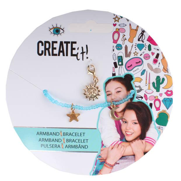 Create it! armbandje met bedeltjes blauw/goud