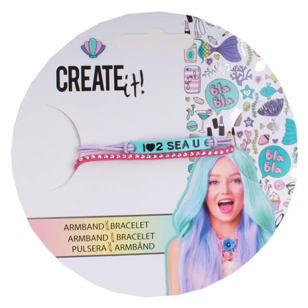 Create it! armbandje met bedeltjes blauw/paars/roze