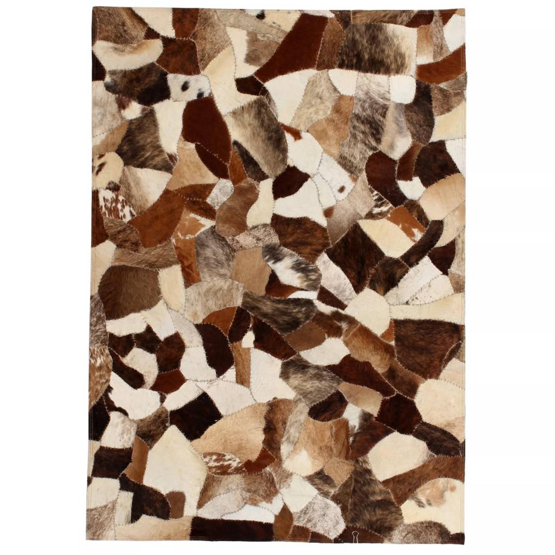 vidaXL Tapijt gemengd patchwork 80x150 cm echt leer bruin/wit