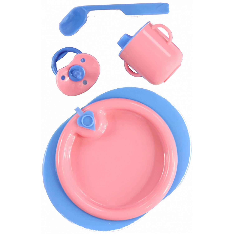 Heless babypop verzorgingsset 4 delig roze blauw