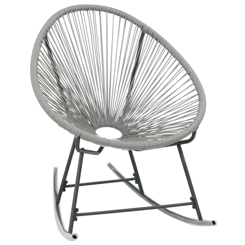 vidaXL Maanstoel voor in de tuin 72,5x77x90 cm poly rattan grijs