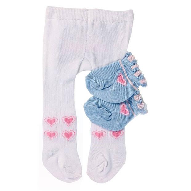 Heless poppenmaillot en sokken wit/blauw 35-45 cm