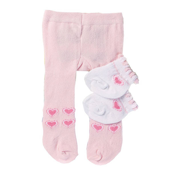 Heless poppenmaillot en sokken roze/wit 35-45 cm