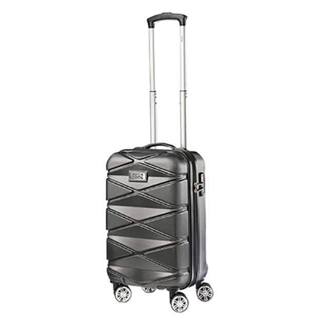 TravelZ - Diamond - 2-delige luxe kofferset TSA - Trolleyset 76 & 55cm - Antraciet Zwart