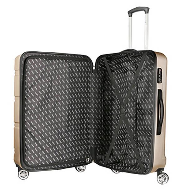 TravelZ - Diamond - 2-delige luxe kofferset TSA - Trolleyset 76 & 55cm - Champagne