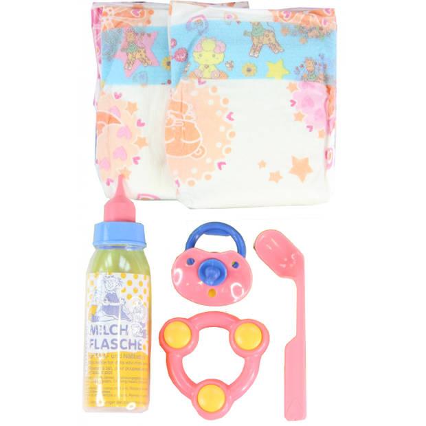 Heless babypop verzorgingsset 6-delig roze
