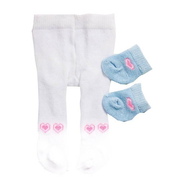 Heless maillot en sokjes voor een pop van 28-35 cm wit/blauw