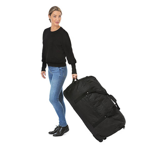 TravelZ - Opvouwbare wieltas - Reistas opvouwbaar met wielen - 100 liter - Zwart