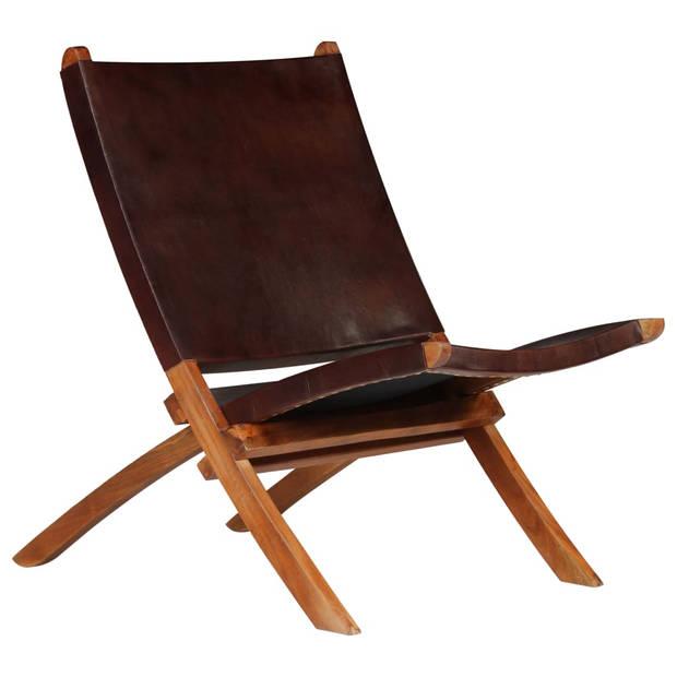 vidaXL Relaxstoel 59x72x79 cm echt leer bruin