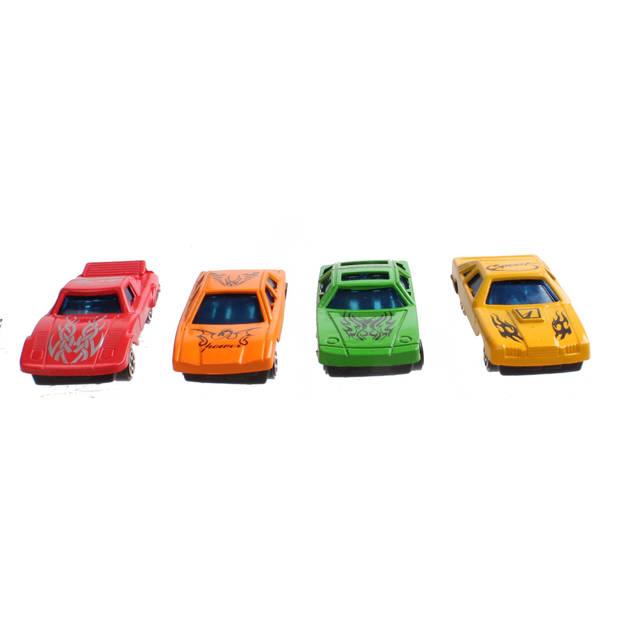 LG-Imports autootjes multicolor 7 x 2,5 cm 4 stuks