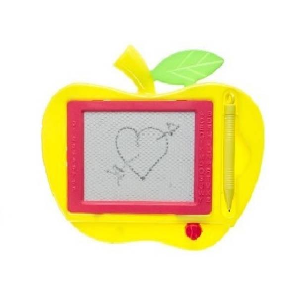 LG-Imports tekenbord magnetisch appel 18 x 18 cm geel