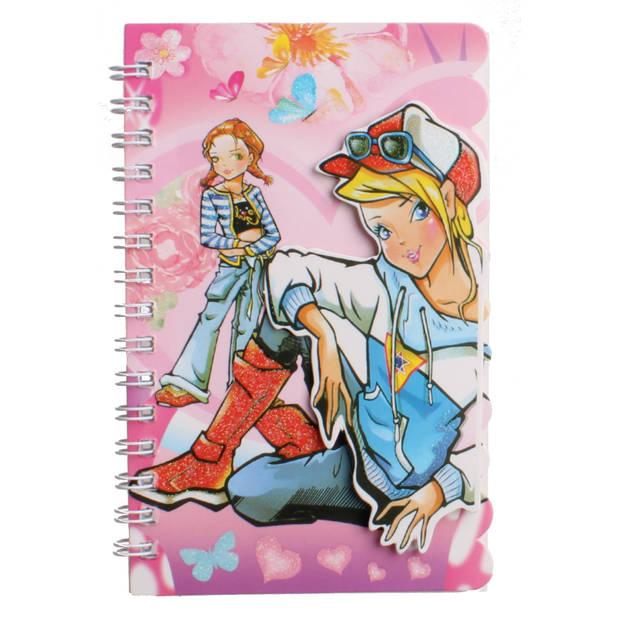 LG-Imports notitieboekje met pen meisjes 15 cm blauwe trui